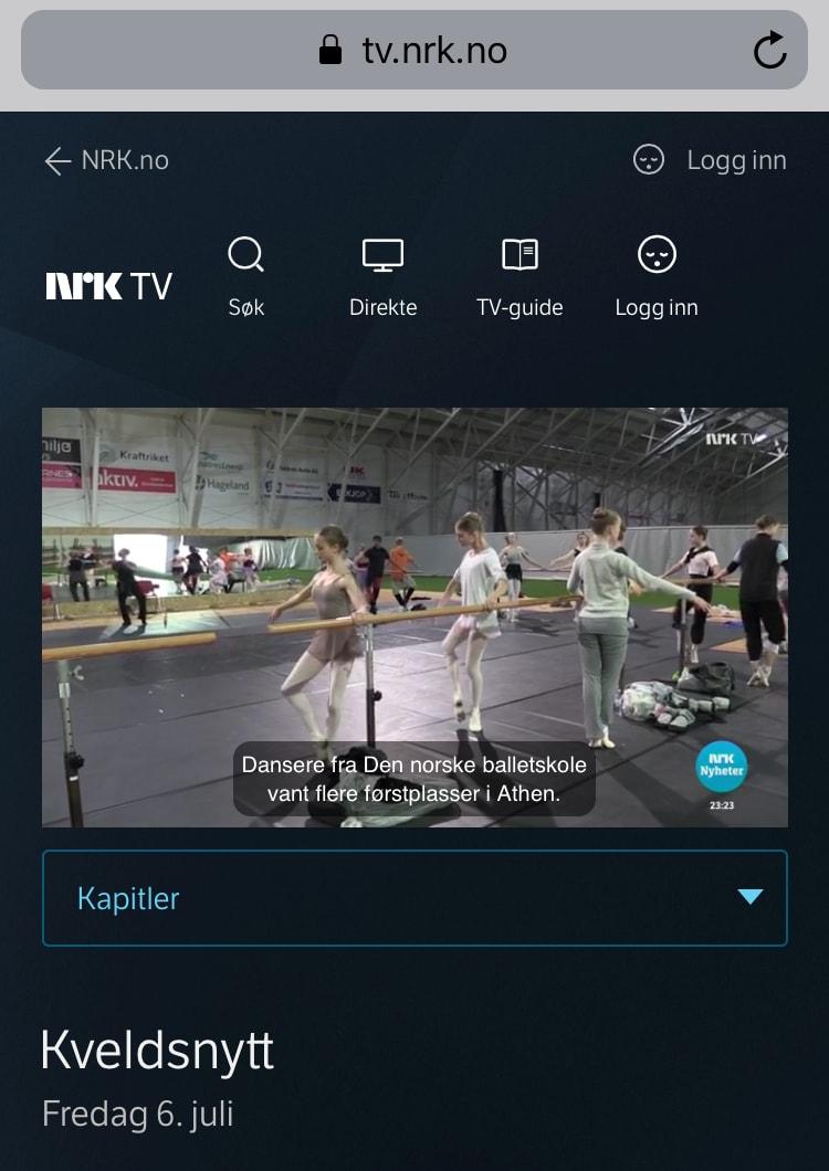 NRK TV Kveldsnytt, July 6th 2018